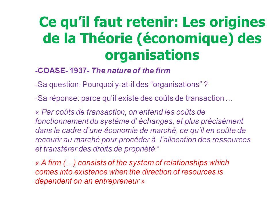 COASE et les origines de la Théorie (économique) des organisations *Coûts de transaction = coûts dinformation; coûts de négociation.