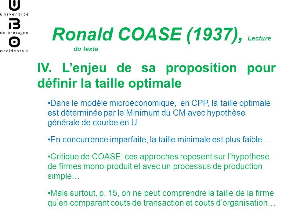 Ronald COASE (1937), Lecture du texte IV.