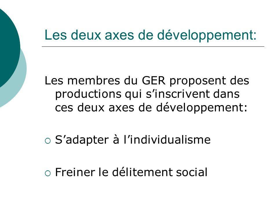 Les deux axes de développement: Les membres du GER proposent des productions qui sinscrivent dans ces deux axes de développement: Sadapter à lindividualisme Freiner le délitement social