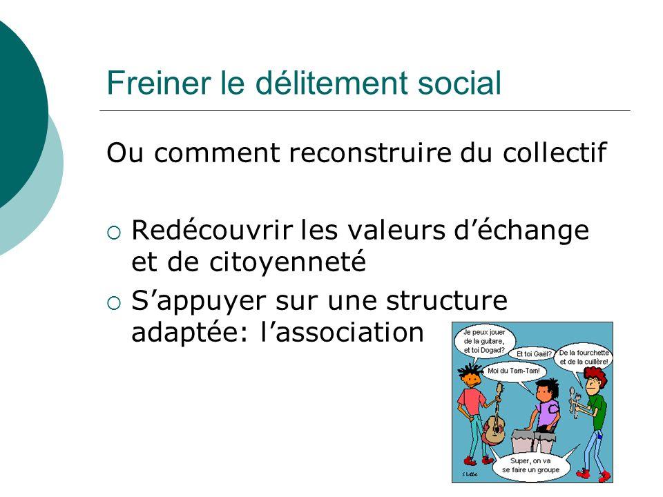 Freiner le délitement social Ou comment reconstruire du collectif Redécouvrir les valeurs déchange et de citoyenneté Sappuyer sur une structure adaptée: lassociation