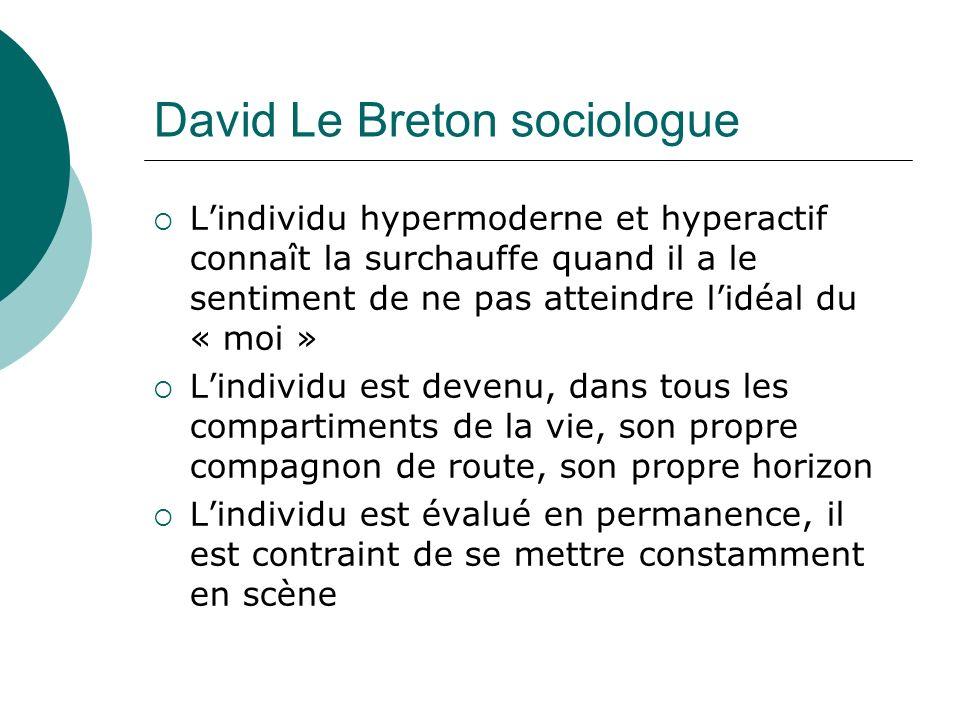 David Le Breton sociologue Lindividu hypermoderne et hyperactif connaît la surchauffe quand il a le sentiment de ne pas atteindre lidéal du « moi » Lindividu est devenu, dans tous les compartiments de la vie, son propre compagnon de route, son propre horizon Lindividu est évalué en permanence, il est contraint de se mettre constamment en scène
