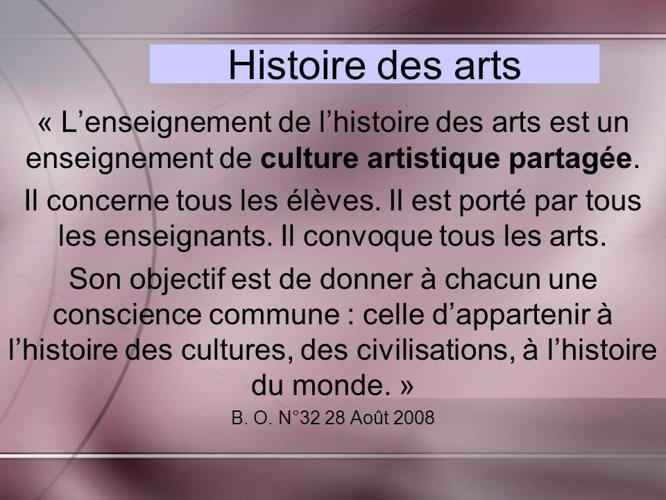 Histoire des arts « Lenseignement de lhistoire des arts est un enseignement de culture artistique partagée.