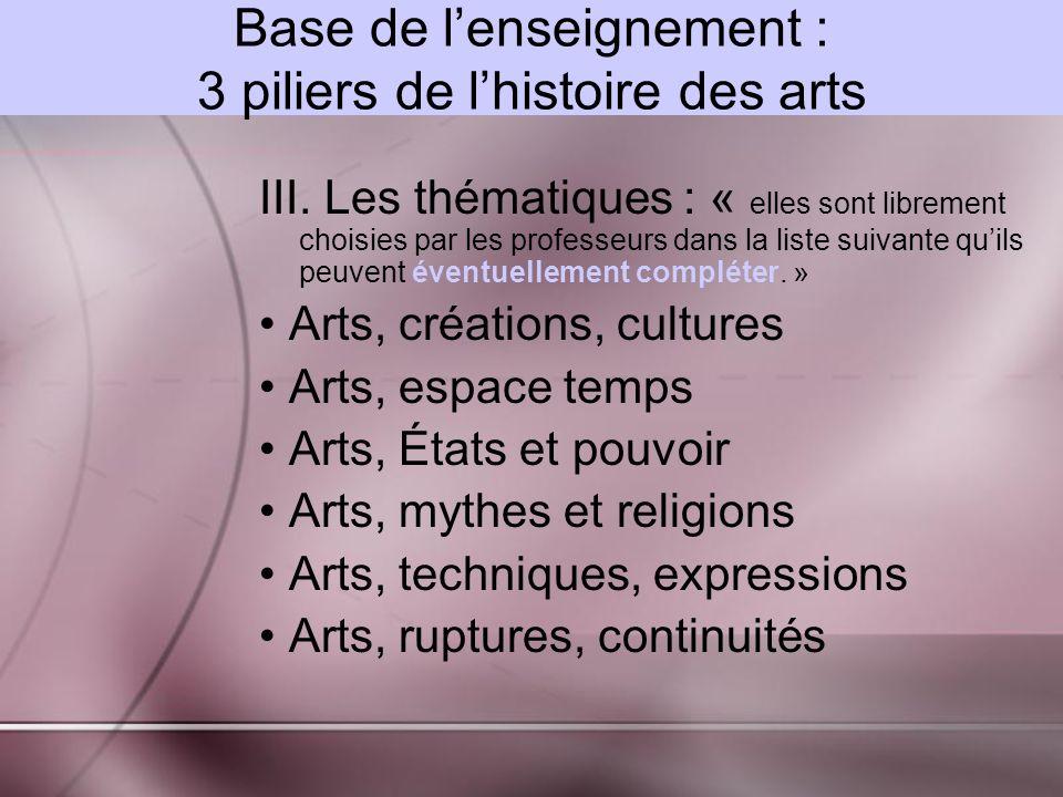 Base de lenseignement : 3 piliers de lhistoire des arts III.