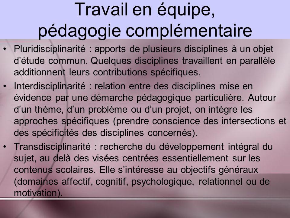 Travail en équipe, pédagogie complémentaire Pluridisciplinarité : apports de plusieurs disciplines à un objet détude commun.