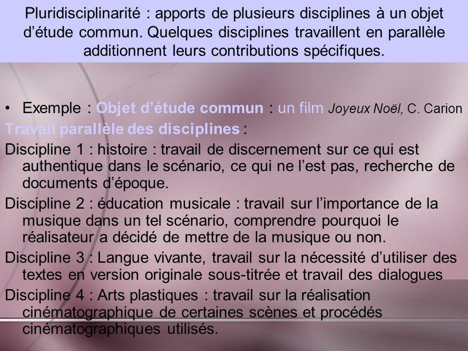 Pluridisciplinarité : apports de plusieurs disciplines à un objet détude commun.