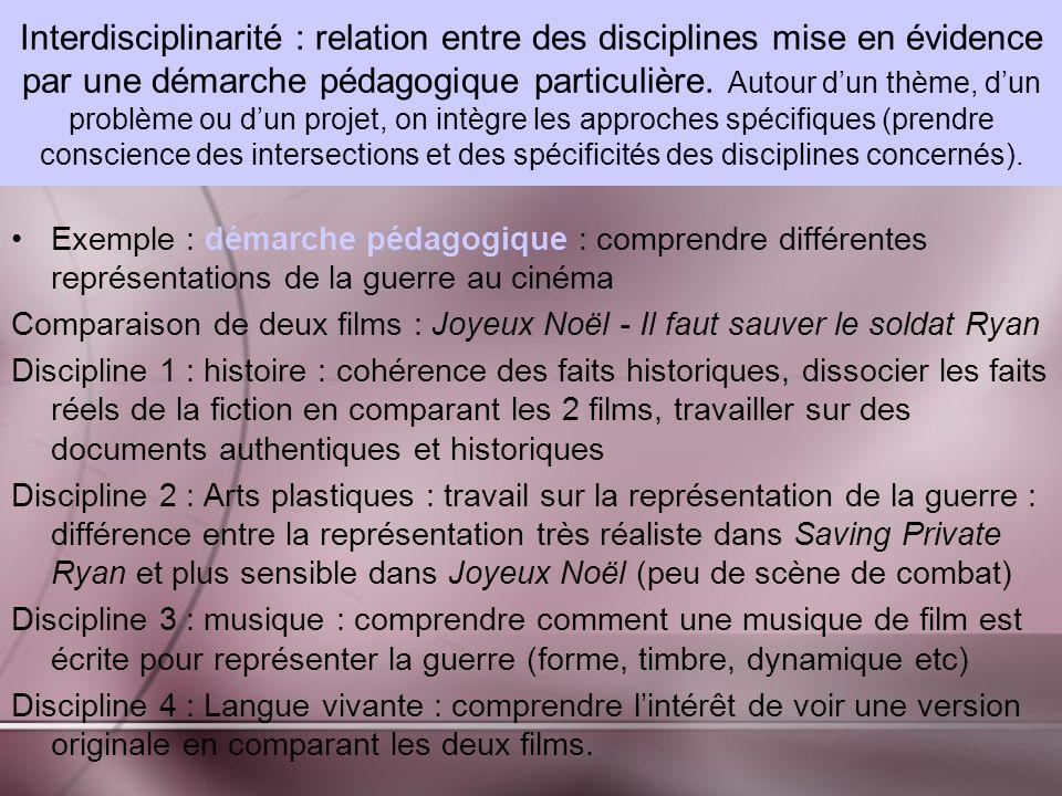Interdisciplinarité : relation entre des disciplines mise en évidence par une démarche pédagogique particulière.