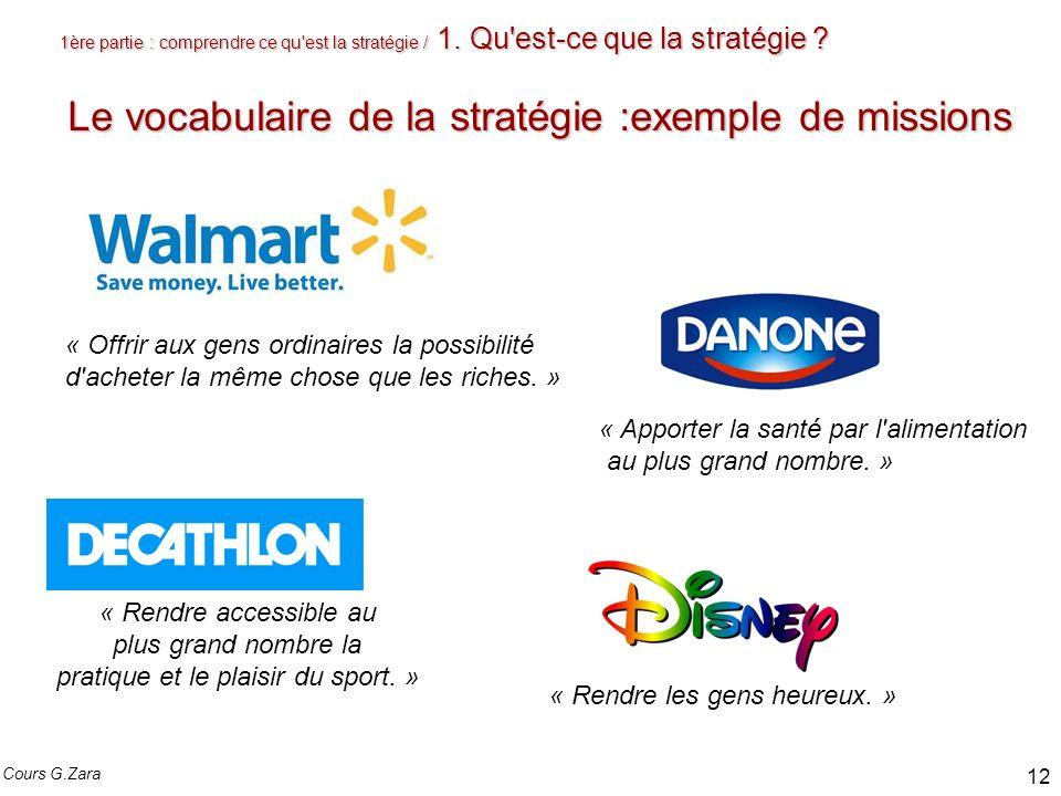 1ère partie : comprendre ce qu'est la stratégie / 1. Qu'est-ce que la stratégie ? Le vocabulaire de la stratégie :exemple de missions « Apporter la sa