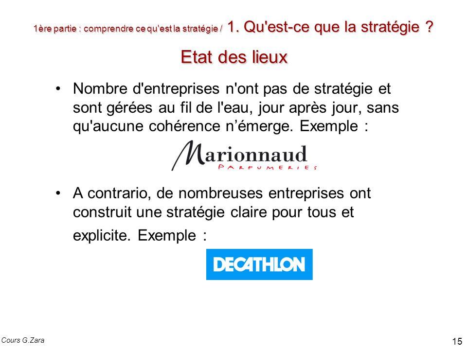 1ère partie : comprendre ce qu'est la stratégie / 1. Qu'est-ce que la stratégie ? Etat des lieux Nombre d'entreprises n'ont pas de stratégie et sont g