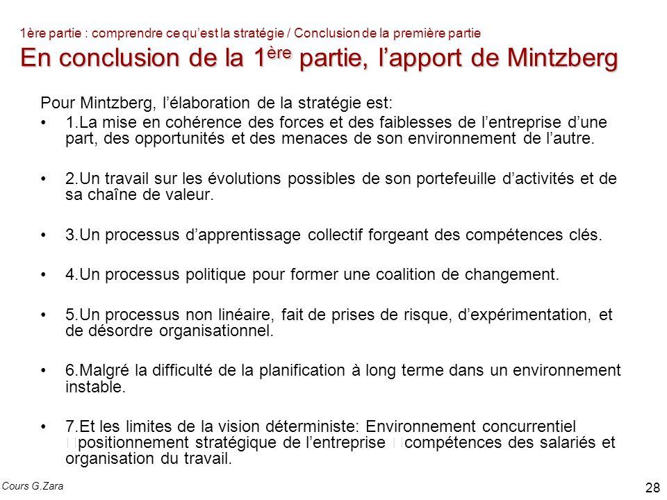 En conclusion de la 1 ère partie, lapport de Mintzberg 1ère partie : comprendre ce quest la stratégie / Conclusion de la première partie En conclusion