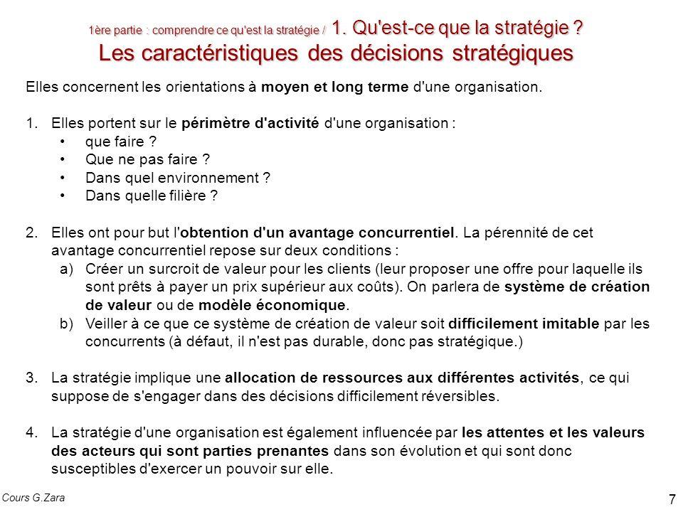 1ère partie : comprendre ce qu'est la stratégie / 1. Qu'est-ce que la stratégie ? Les caractéristiques des décisions stratégiques Elles concernent les