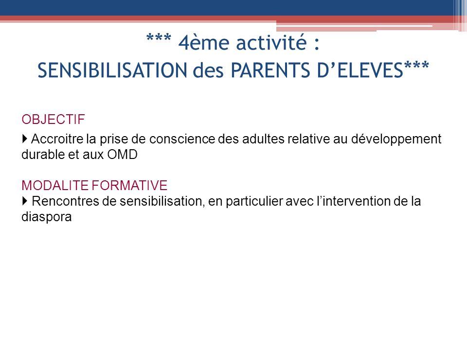 *** 4ème activité : SENSIBILISATION des PARENTS DELEVES *** OBJECTIF Accroitre la prise de conscience des adultes relative au développement durable et