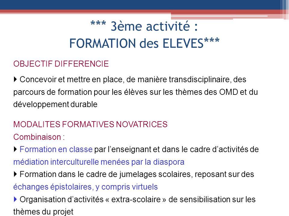 *** 3ème activité : FORMATION des ELEVES *** OBJECTIF DIFFERENCIE Concevoir et mettre en place, de manière transdisciplinaire, des parcours de formati