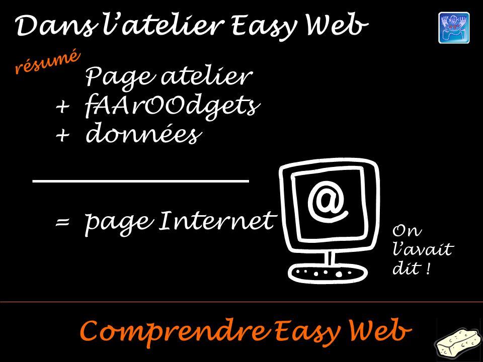 Dans latelier Easy Web Comprendre Easy Web résumé Page atelier +fAArOOdgets +données =page Internet On lavait dit !