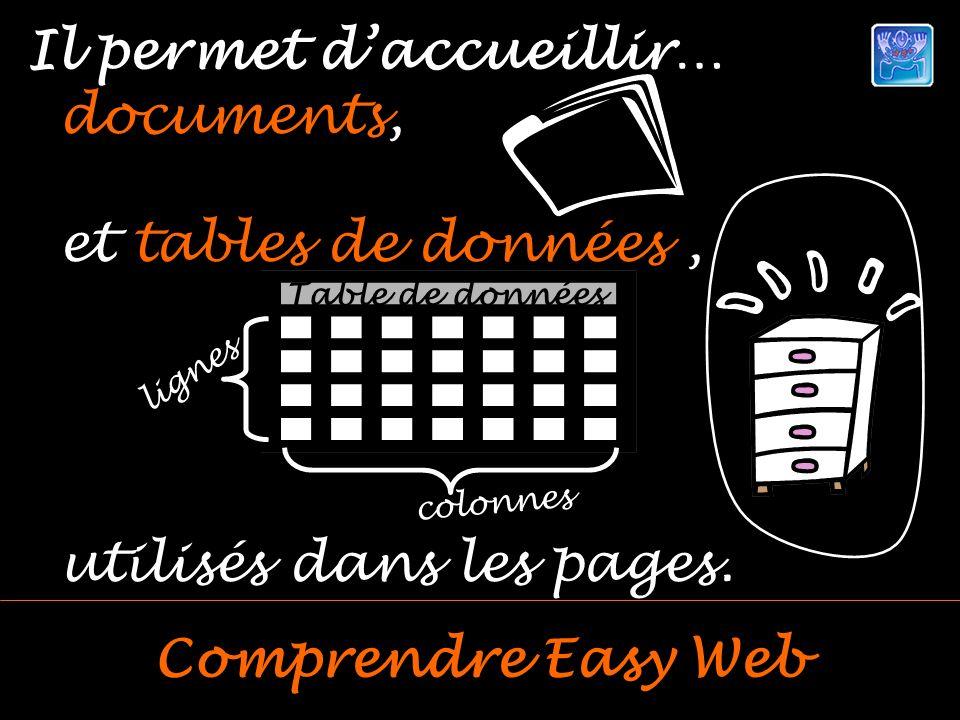 Il permet daccueillir… Comprendre Easy Web documents, et tables de données, utilisés dans les pages.
