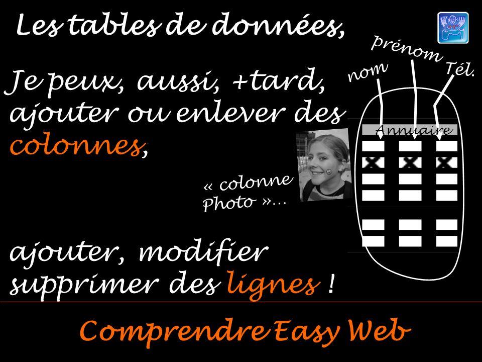 Les tables de données, Comprendre Easy Web Je peux, aussi, +tard, ajouter ou enlever des colonnes, « colonne Photo »… nom prénom Tél.