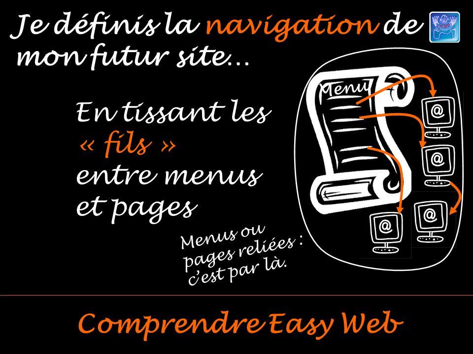 Je définis la navigation de mon futur site… Comprendre Easy Web En tissant les « fils » entre menus et pages Menus ou pages reliées : cest par là.