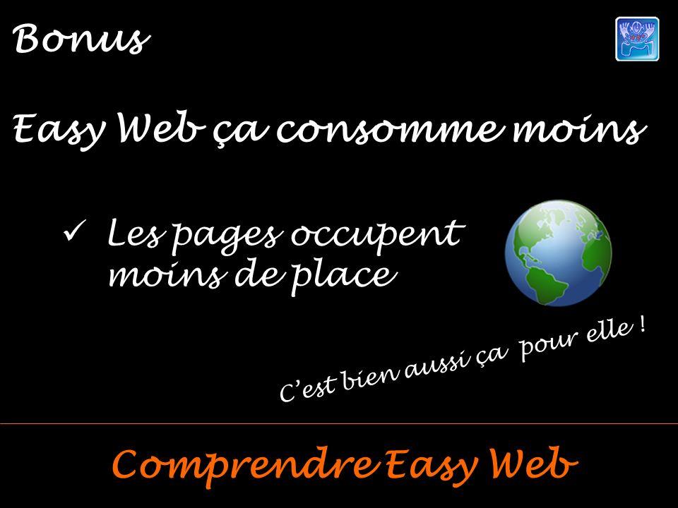 Les pages occupent moins de place Bonus Easy Web ça consomme moins Comprendre Easy Web Cest bien aussi ça pour elle !