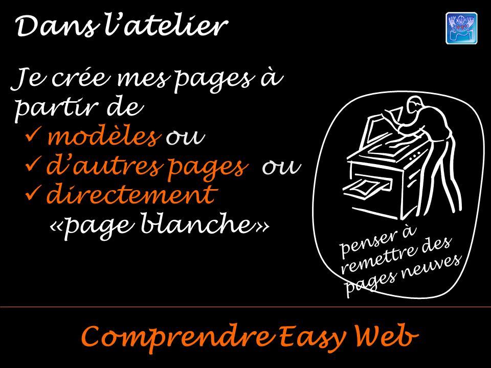 Je crée mes pages à partir de modèles ou dautres pages ou directement «page blanche» penser à remettre des pages neuves Dans latelier Comprendre Easy Web