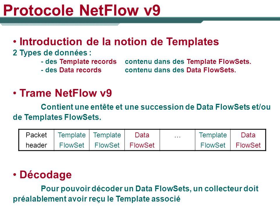 Protocole NetFlow v9 Introduction de la notion de Templates 2 Types de données : - des Template recordscontenu dans des Template FlowSets. - des Data