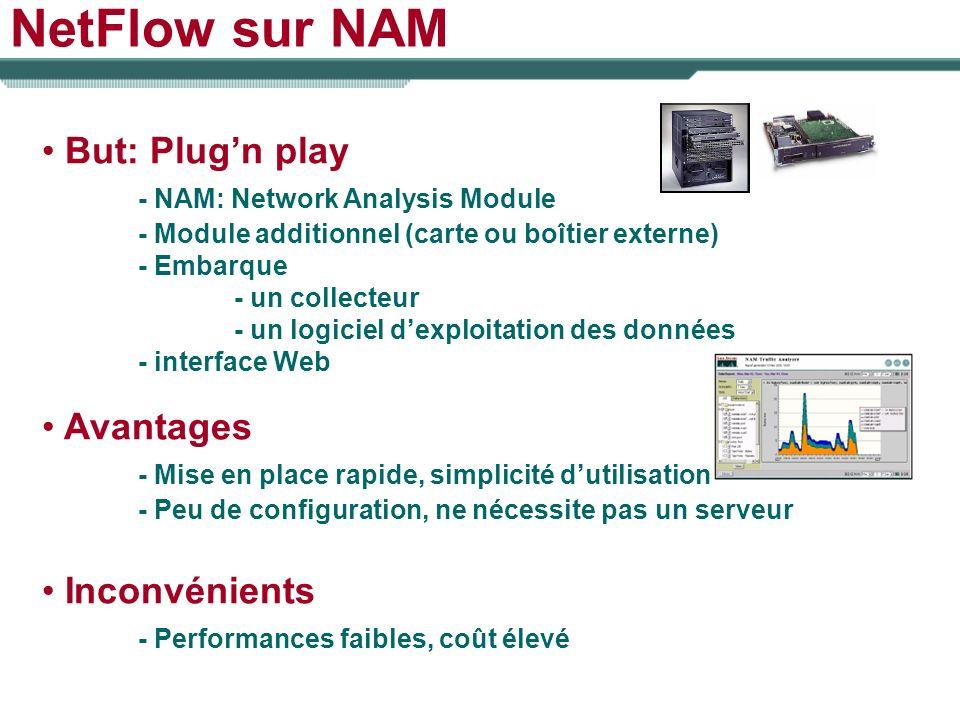 NetFlow sur NAM But: Plugn play - NAM: Network Analysis Module - Module additionnel (carte ou boîtier externe) - Embarque - un collecteur - un logicie
