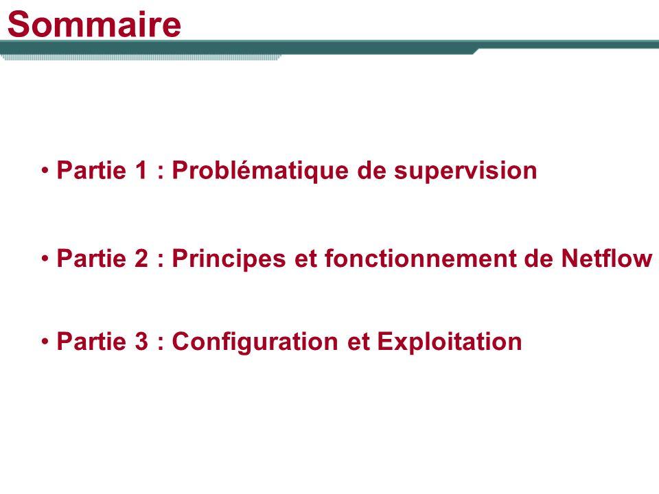 Sommaire Partie 1 : Problématique de supervision Partie 2 : Principes et fonctionnement de Netflow Partie 3 : Configuration et Exploitation