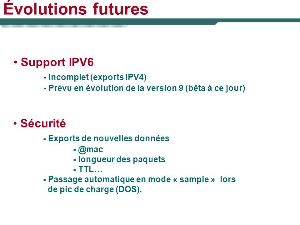 Évolutions futures Support IPV6 - Incomplet (exports IPV4) - Prévu en évolution de la version 9 (bêta à ce jour) Sécurité - Exports de nouvelles donné