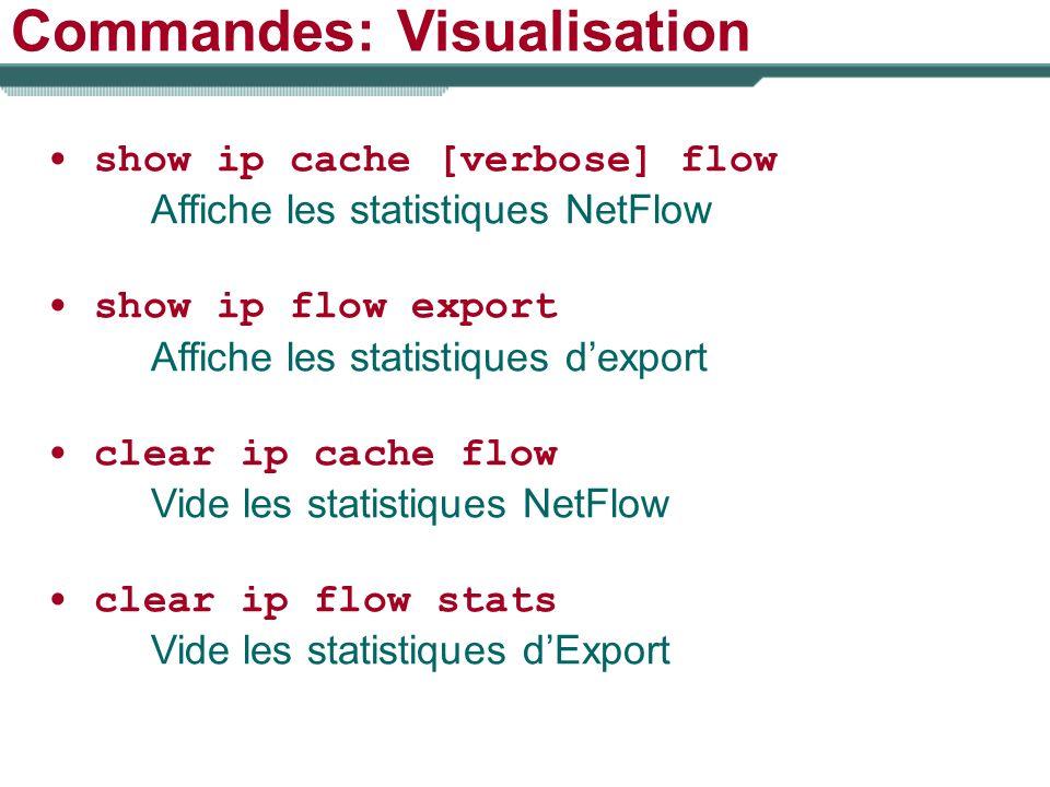 Commandes: Visualisation show ip cache [verbose] flow Affiche les statistiques NetFlow show ip flow export Affiche les statistiques dexport clear ip c