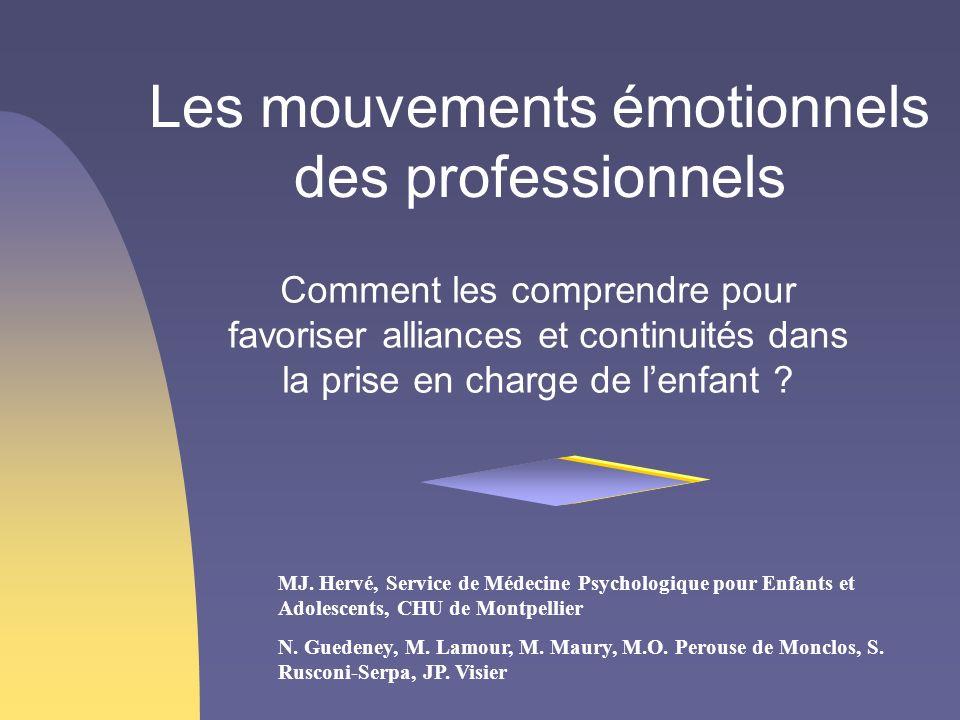 Les mouvements émotionnels des professionnels Comment les comprendre pour favoriser alliances et continuités dans la prise en charge de lenfant ? MJ.