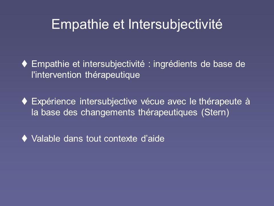 Empathie et Intersubjectivité Empathie et intersubjectivité : ingrédients de base de l'intervention thérapeutique Expérience intersubjective vécue ave