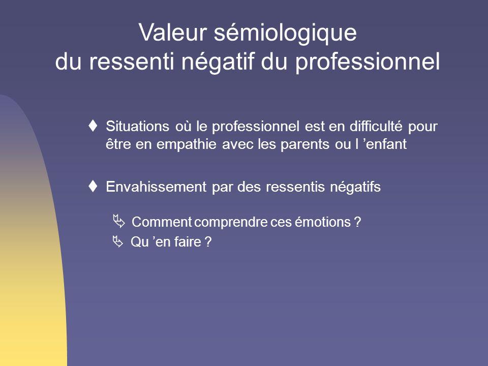Situations où le professionnel est en difficulté pour être en empathie avec les parents ou l enfant Envahissement par des ressentis négatifs Comment c