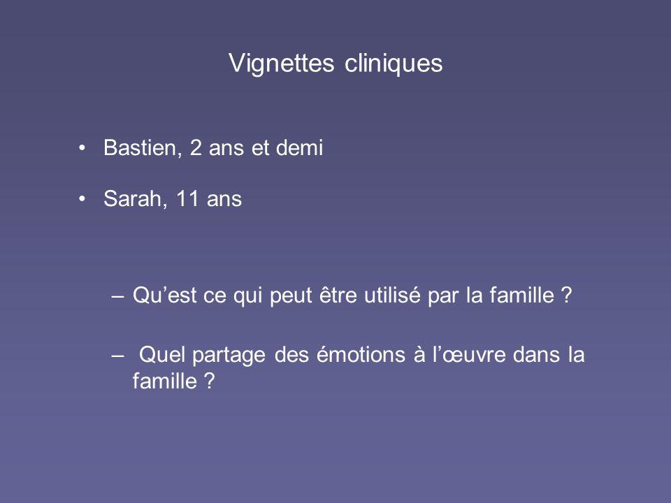 Vignettes cliniques Bastien, 2 ans et demi Sarah, 11 ans –Quest ce qui peut être utilisé par la famille ? – Quel partage des émotions à lœuvre dans la