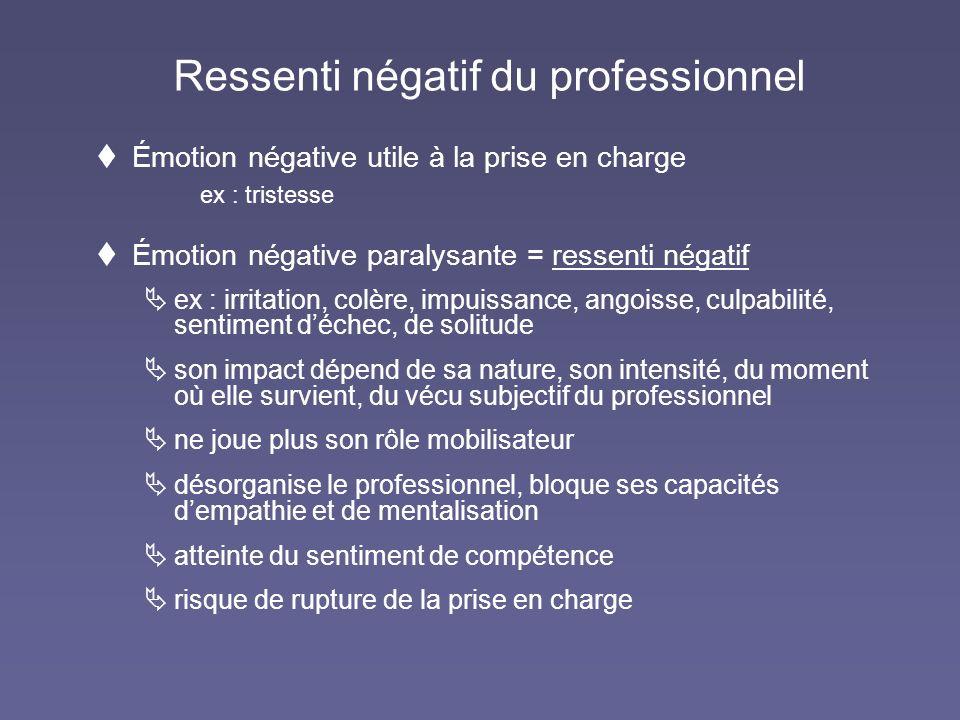 Ressenti négatif du professionnel Émotion négative utile à la prise en charge ex : tristesse Émotion négative paralysante = ressenti négatif ex : irri