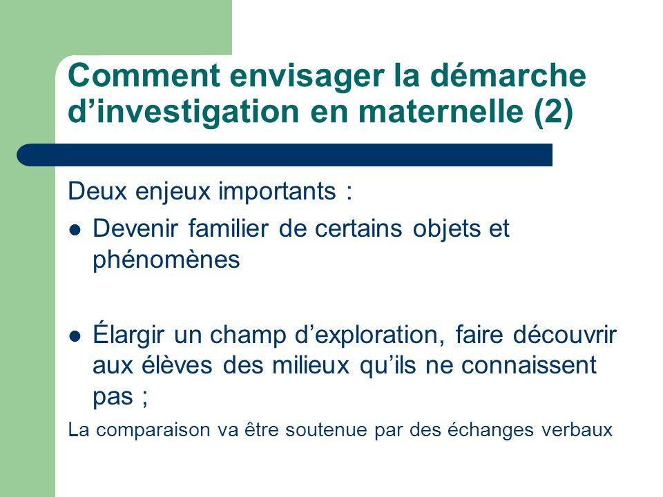 Comment envisager la démarche dinvestigation en maternelle (2) Deux enjeux importants : Devenir familier de certains objets et phénomènes Élargir un c