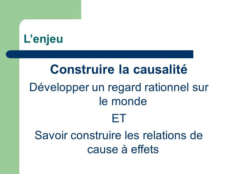 Lenjeu Construire la causalité Développer un regard rationnel sur le monde ET Savoir construire les relations de cause à effets