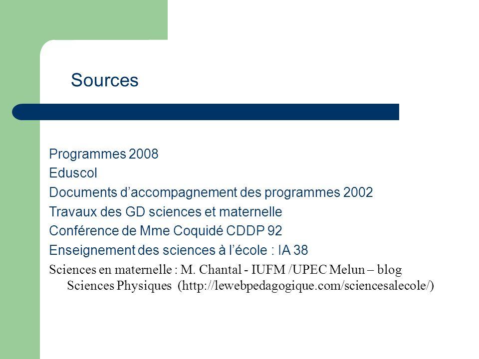 Programmes 2008 Eduscol Documents daccompagnement des programmes 2002 Travaux des GD sciences et maternelle Conférence de Mme Coquidé CDDP 92 Enseigne