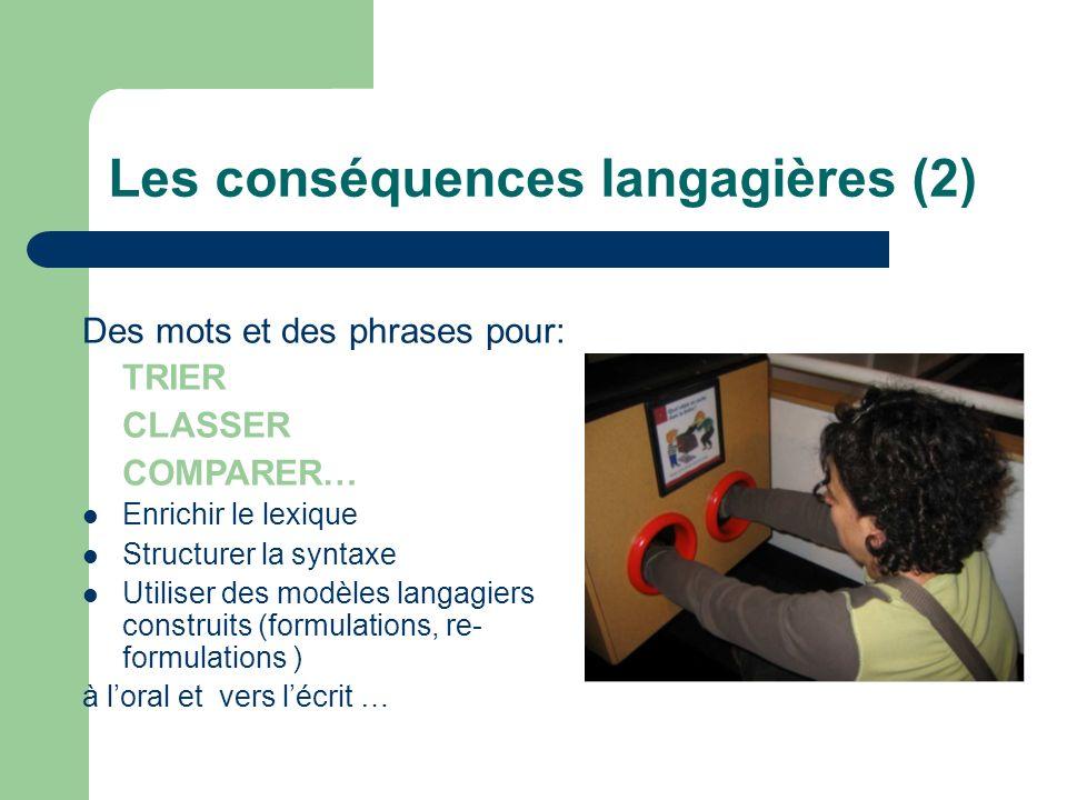Les conséquences langagières (2) Des mots et des phrases pour: TRIER CLASSER COMPARER… Enrichir le lexique Structurer la syntaxe Utiliser des modèles