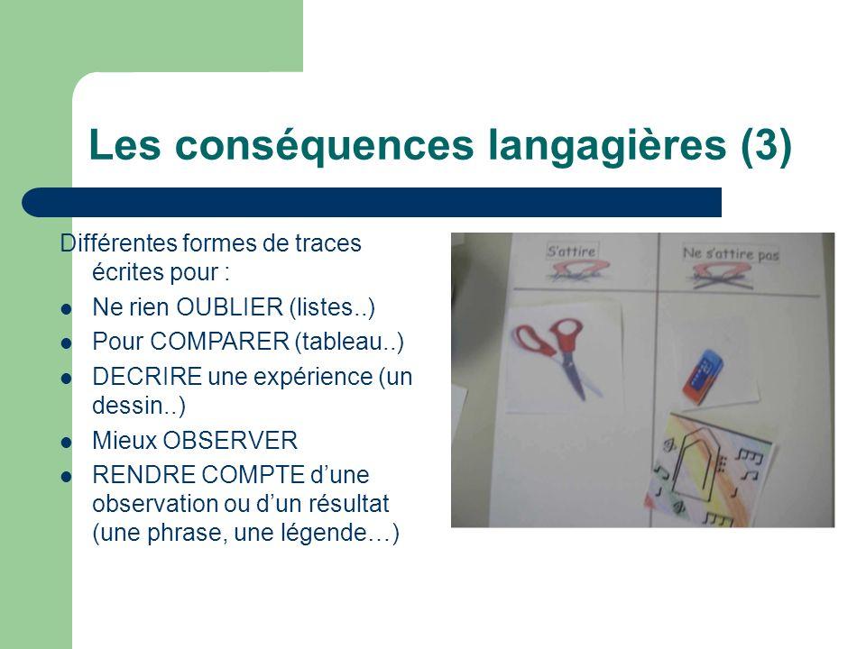 Les conséquences langagières (3) Différentes formes de traces écrites pour : Ne rien OUBLIER (listes..) Pour COMPARER (tableau..) DECRIRE une expérien