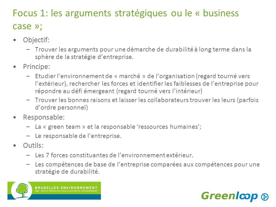 Focus 1: les arguments stratégiques ou le « business case »; Objectif: –Trouver les arguments pour une démarche de durabilité à long terme dans la sph