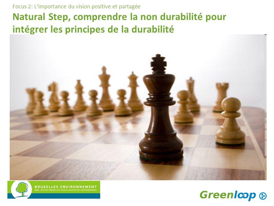 Focus 2: Limportance du vision positive et partagée Natural Step, comprendre la non durabilité pour intégrer les principes de la durabilité