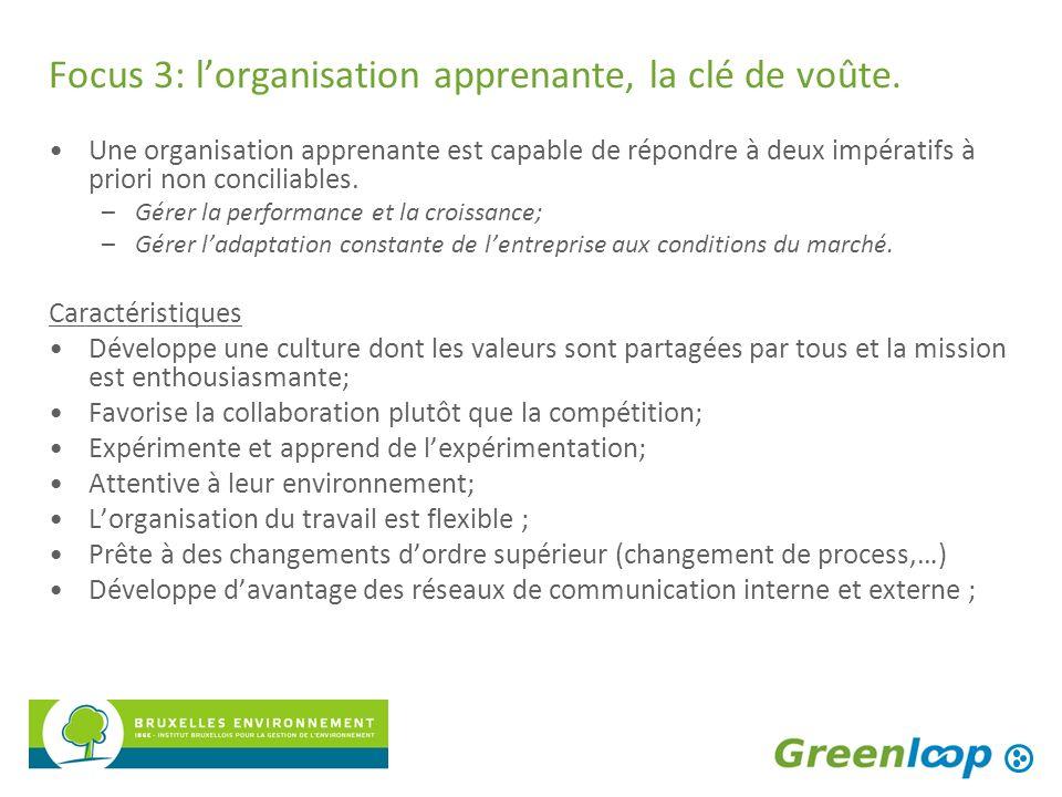 Focus 3: lorganisation apprenante, la clé de voûte. Une organisation apprenante est capable de répondre à deux impératifs à priori non conciliables. –