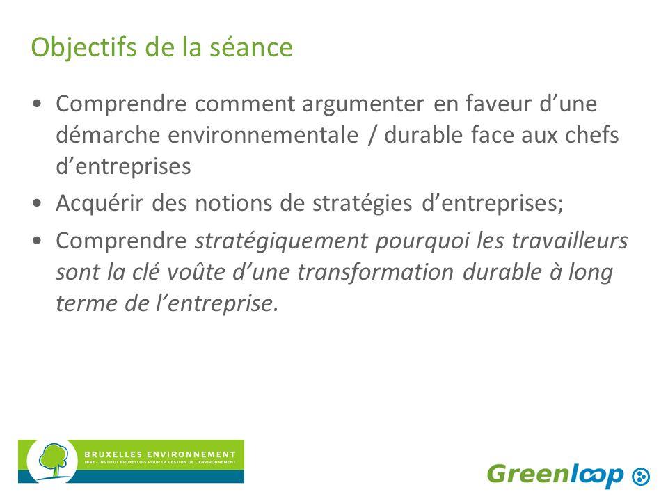 Objectifs de la séance Comprendre comment argumenter en faveur dune démarche environnementale / durable face aux chefs dentreprises Acquérir des notio