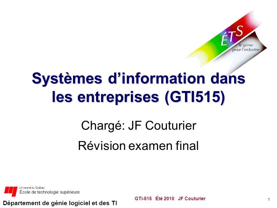 Département de génie logiciel et des TI Université du Québec École de technologie supérieure Systèmes dinformation dans les entreprises (GTI515) Chargé: JF Couturier Révision examen final 1 GTI-515 Été 2010 JF Couturier