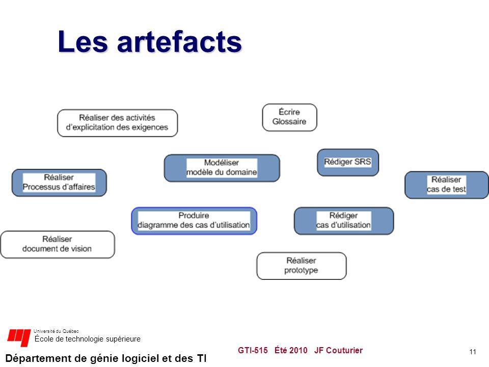 Département de génie logiciel et des TI Université du Québec École de technologie supérieure Les artefacts GTI-515 Été 2010 JF Couturier 11