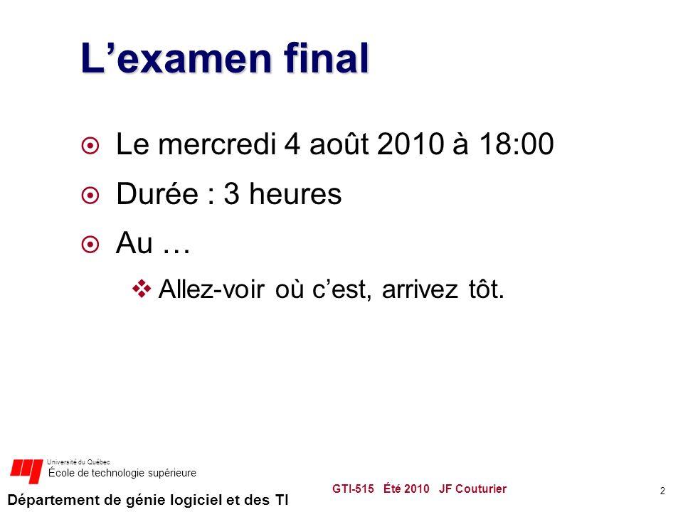 Département de génie logiciel et des TI Université du Québec École de technologie supérieure Lexamen final Le mercredi 4 août 2010 à 18:00 Durée : 3 heures Au … Allez-voir où cest, arrivez tôt.
