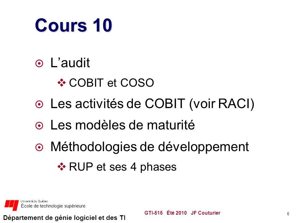 Département de génie logiciel et des TI Université du Québec École de technologie supérieure Cours 10 Laudit COBIT et COSO Les activités de COBIT (voir RACI) Les modèles de maturité Méthodologies de développement RUP et ses 4 phases GTI-515 Été 2010 JF Couturier 6