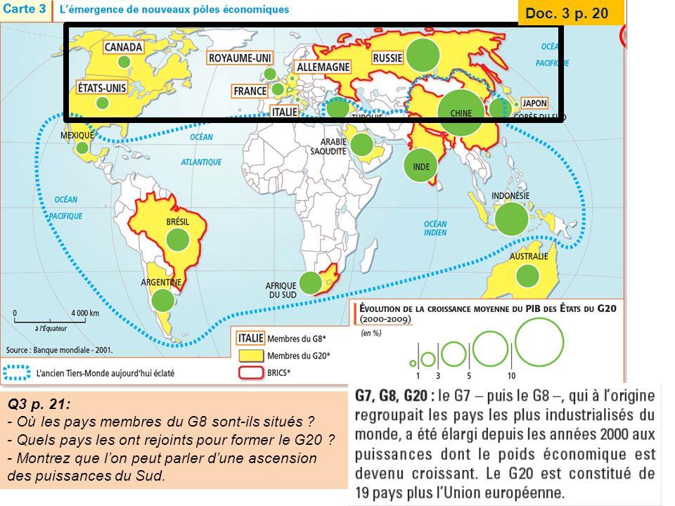 Q3 p. 21: - Où les pays membres du G8 sont-ils situés ? - Quels pays les ont rejoints pour former le G20 ? - Montrez que lon peut parler dune ascensio