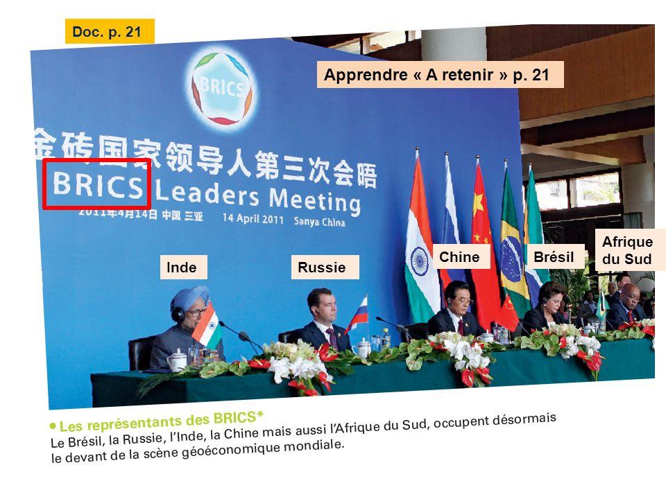 Doc. p. 21 Apprendre « A retenir » p. 21 Brésil RussieInde Chine Afrique du Sud