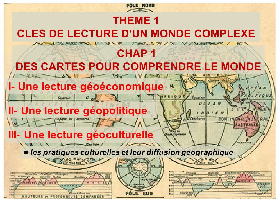 THEME 1 CLES DE LECTURE DUN MONDE COMPLEXE CHAP 1 DES CARTES POUR COMPRENDRE LE MONDE I- Une lecture géoéconomique II- Une lecture géopolitique III- U