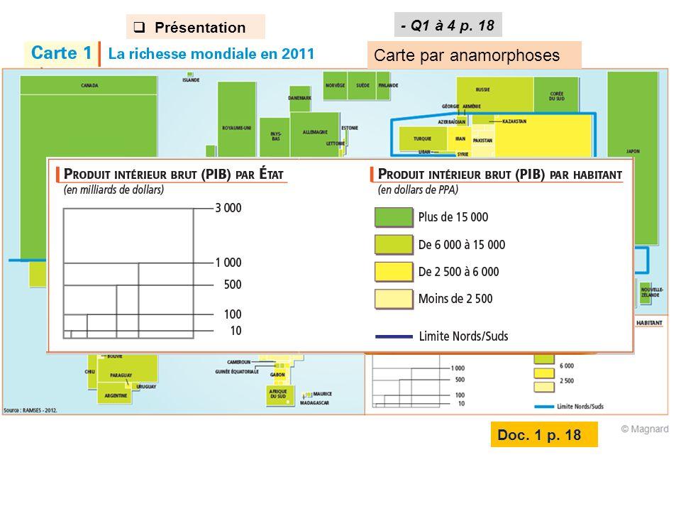 Analyse de la carte 3- Poids éco respectif de : Amérique du Nord, Europe de lOuest, Asie de lEst, Afrique, Amérique latine.
