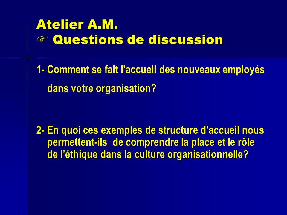 Atelier A.M. Questions de discussion 1- Comment se fait laccueil des nouveaux employés dans votre organisation? 2- En quoi ces exemples de structure d